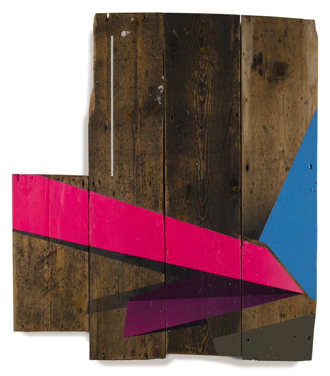 Dragunov - 2015 Graphite and spray paint on assembled wood 77cm x 67.5cm