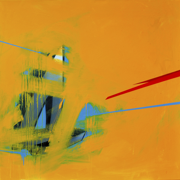 Subtle Odysseus - 2009 Spray paint and matt emulsion on canvas 126cm x 126cm  Private collection