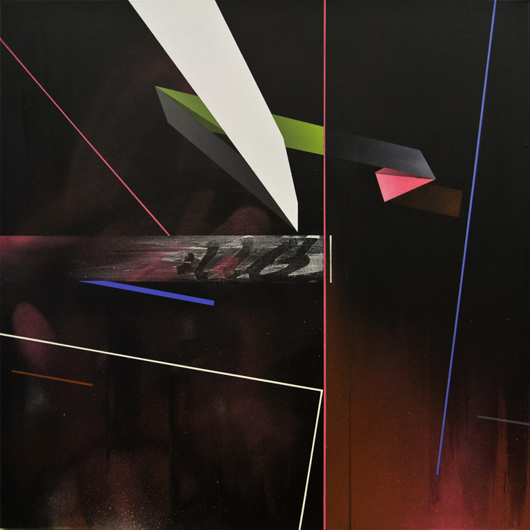 The Isolationist - 2013 Spray paint and graphite on canvas 80cm x 80cm
