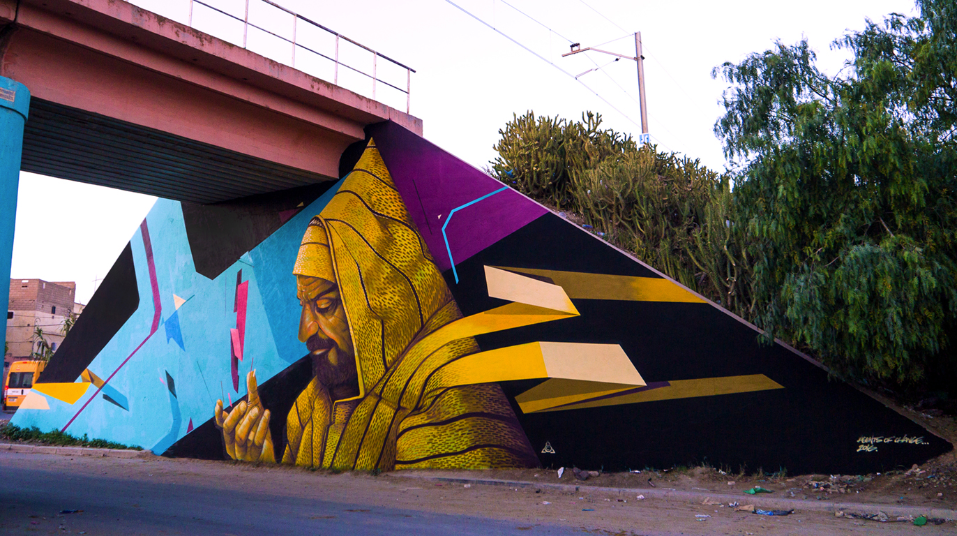 Street Art Caravane - 2016  Collaboration with Jason System Youssoufia, Morocco