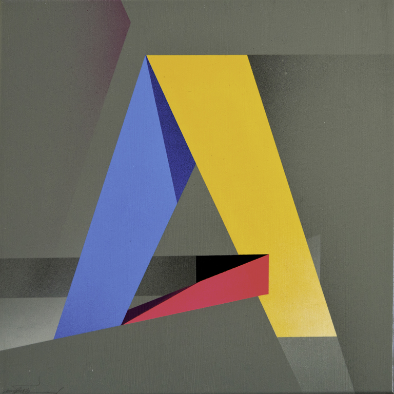 Letter A - 2014 Spray paint on canvas 40cm x 40cm